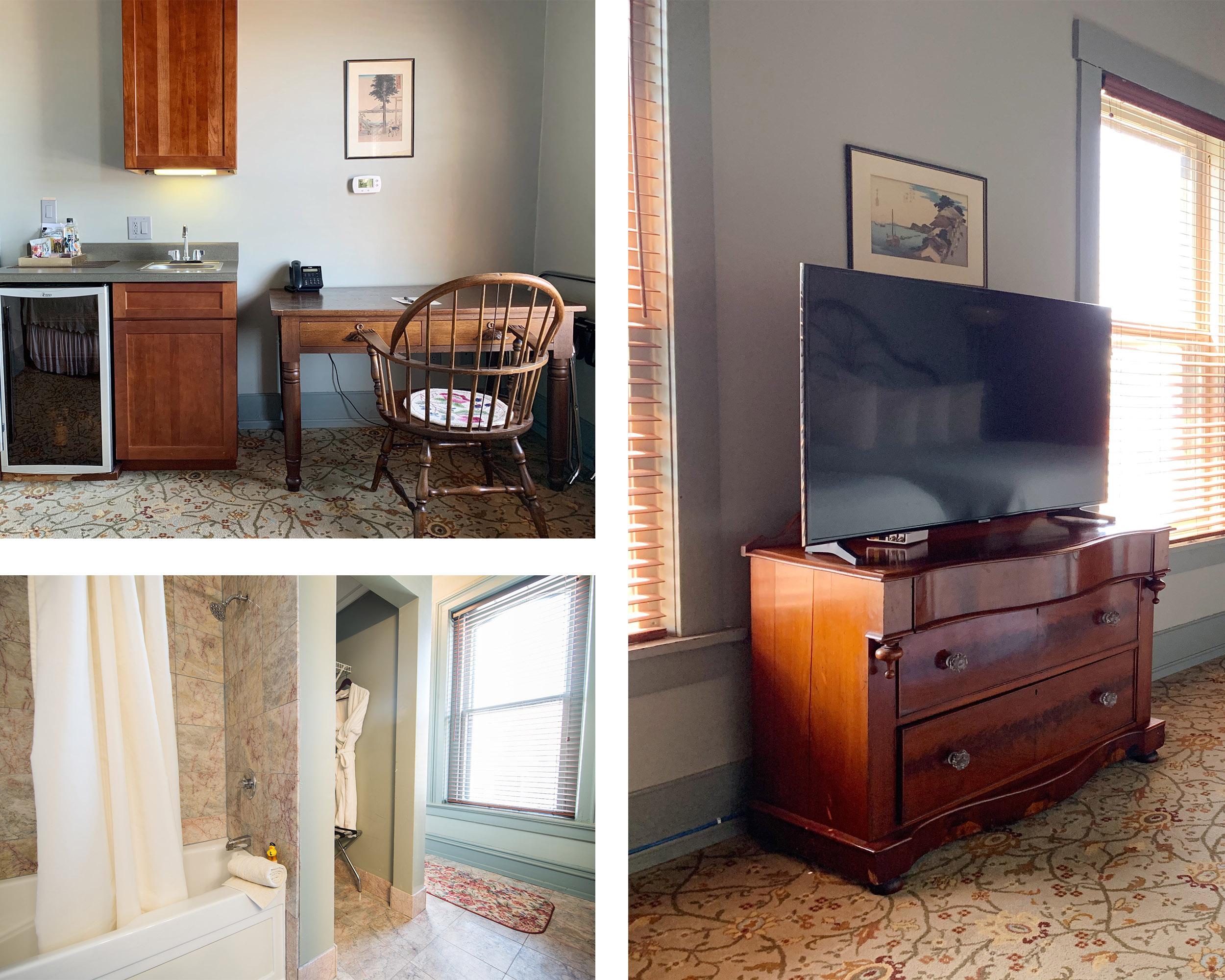 TV, kitchenette, bath